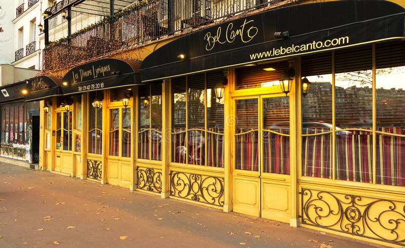 Bel Canto is traditional French restaurant and service from Opera singing waiters, Paris, France. royalty free stock photo