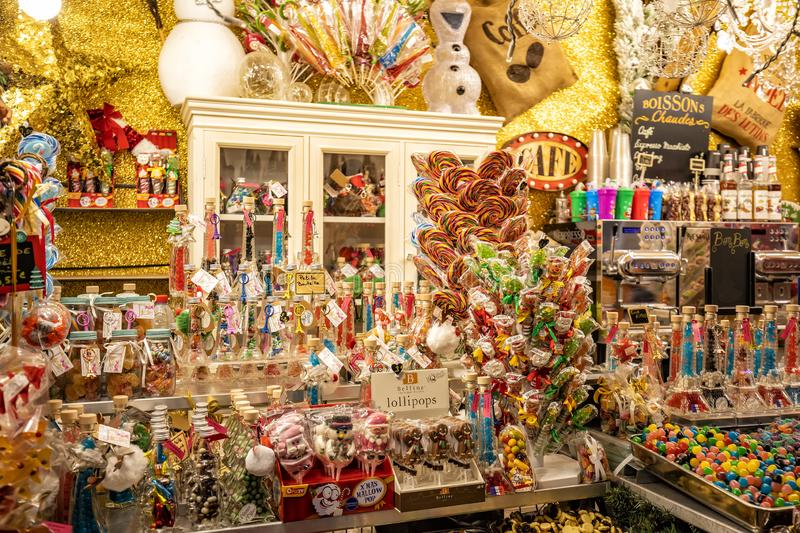 Colorful treats in traditional stalls at the Tuileries Garden Christmas Market in Paris royalty free stock photo