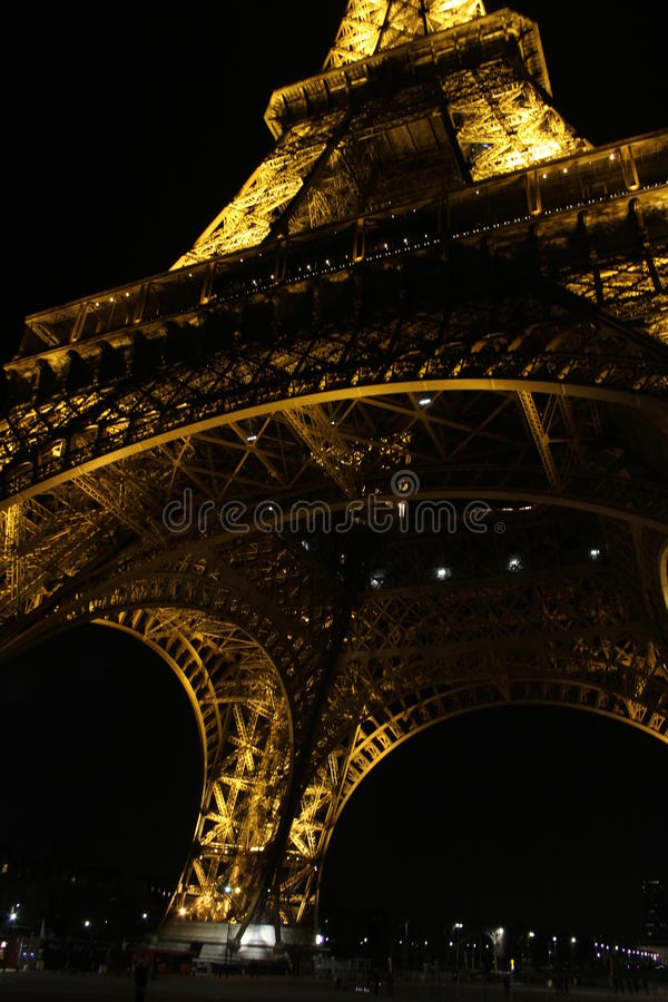 Paris, France - The Eiffel Tower at Night March 2010. Abstract of Eiffel Tower illuminated at night showing scale and detail royalty free stock photos