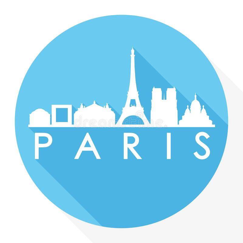 Paris France Europe Round Icon Vector Art Flat Shadow Design Skyline City Silhouette Template Logo vector illustration