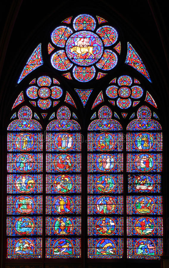 Paris France Famous Notre Dame Cathedral Stained Glass