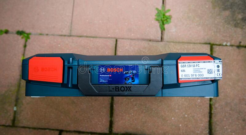 New box of Bosch L-Boxx Systainers from Bosch Professional tool. Paris, France - Feb 23, 2019: Cordless drill GSR 12v-15 FC new box of Bosch L-Boxx Systainers stock photography