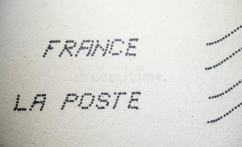 France La Poste text printed by dot matrix printer. Paris, France - Feb 3, 2018: French postal envelope with France La Poste text printed by dot matrix printer royalty free stock images