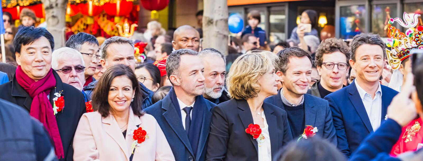 Chinese new year 2019 Paris France - Politicians in the parade stock photography