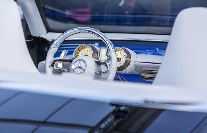 Mercedes Steering Wheel - Concept Cars and Automobile Design Exhibition, Paris 2018. PARIS, FRANCE - FEBRUARY 04, 2018: Steering wheel with the famous Mercedes stock image
