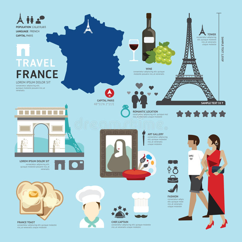 Paris, France Flat Icons Design Travel Concept. Vector royalty free illustration