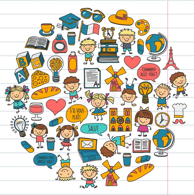 Paris france Francuz klasa francuski język sztuki chłopiec klamerki dziewczyny małe studentów Szkoła, dzieciniec, pepiniera, szko ilustracja wektor