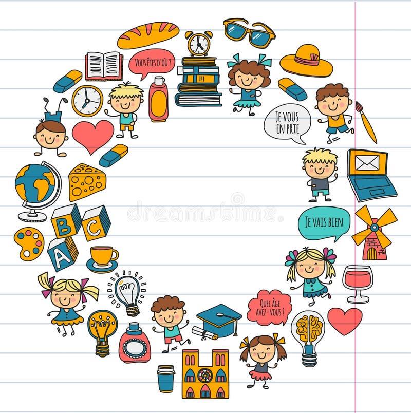 Paris france Francuz klasa francuski język sztuki chłopiec klamerki dziewczyny małe studentów Szkoła, dzieciniec, pepiniera, szko ilustracji