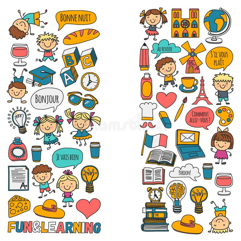 Paris france Francuz klasa francuski język sztuki chłopiec klamerki dziewczyny małe studentów Szkoła, dzieciniec, pepiniera, szko royalty ilustracja