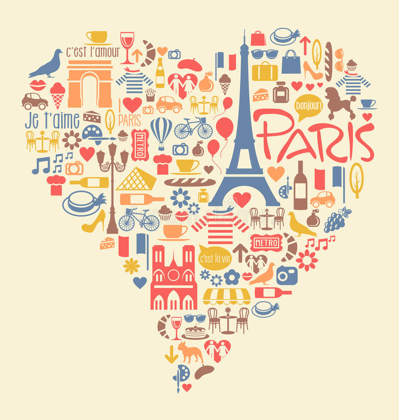 Paris France Icons Landmarks and attractions. Many Paris France Icons Landmarks and attractions in a heart shape