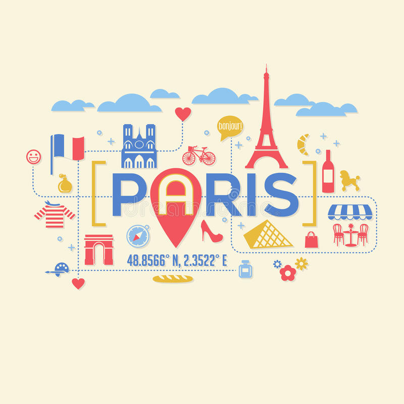 Paris France icons and typography design royalty free illustration