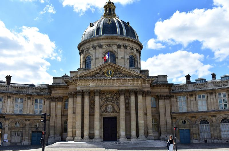 French Institute, French Academy Institut de France, Academie Francaise facade and dome. Paris, France, 17 Aug 2018. stock photos