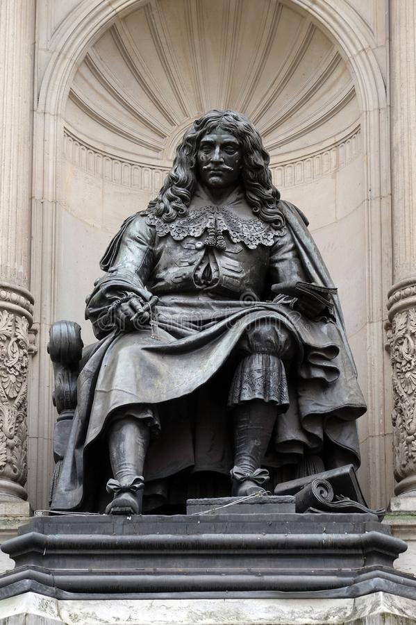Bronze statue of the French poet and playwright Moliere in Paris royalty free stock photography