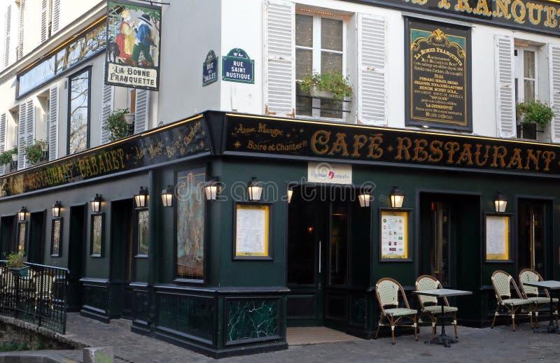 Cabaret restaurant La Bonne Franquette. Corner rue des Saules and rue Saint Rustique in Paris. France stock images