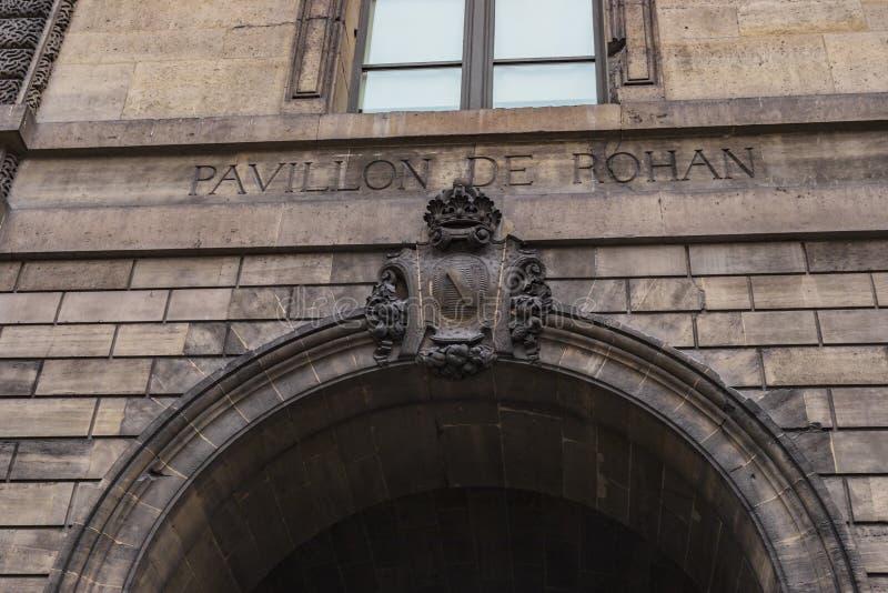 Pavillon de Rohan in Paris Louvre Palace. Paris, France - January 28, 2018: Close up on the architecture engraving of Pavillon de Rohan in Louvre Palace stock photo