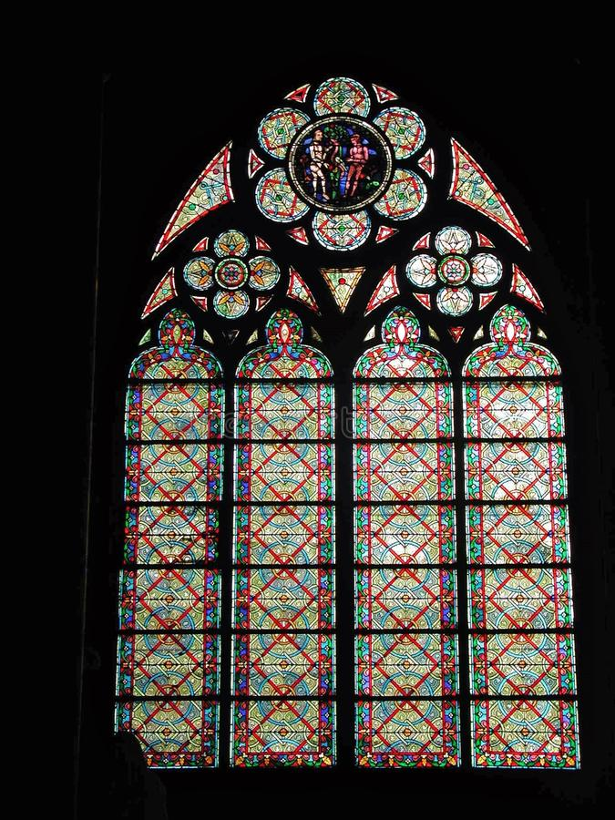 Paris - Stained-glass window of Notre-Dame royalty free stock photos