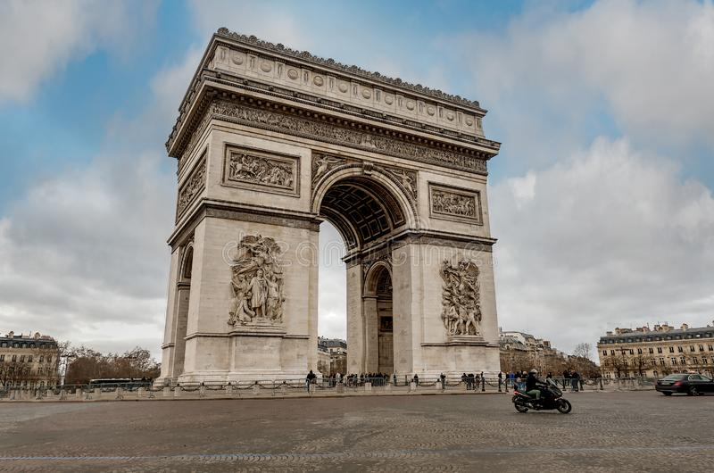 View of the square with Arc de Triomphe in Paris France stock photos