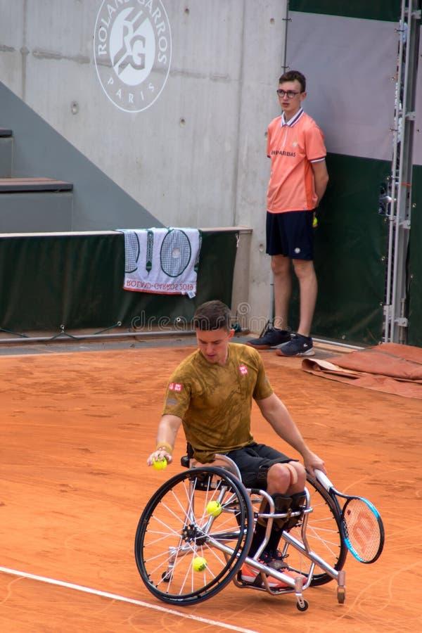 PARIS, FRANCE - 8 JUIN 2019 : Roland Garros équipe des finales de fauteuil roulant images stock