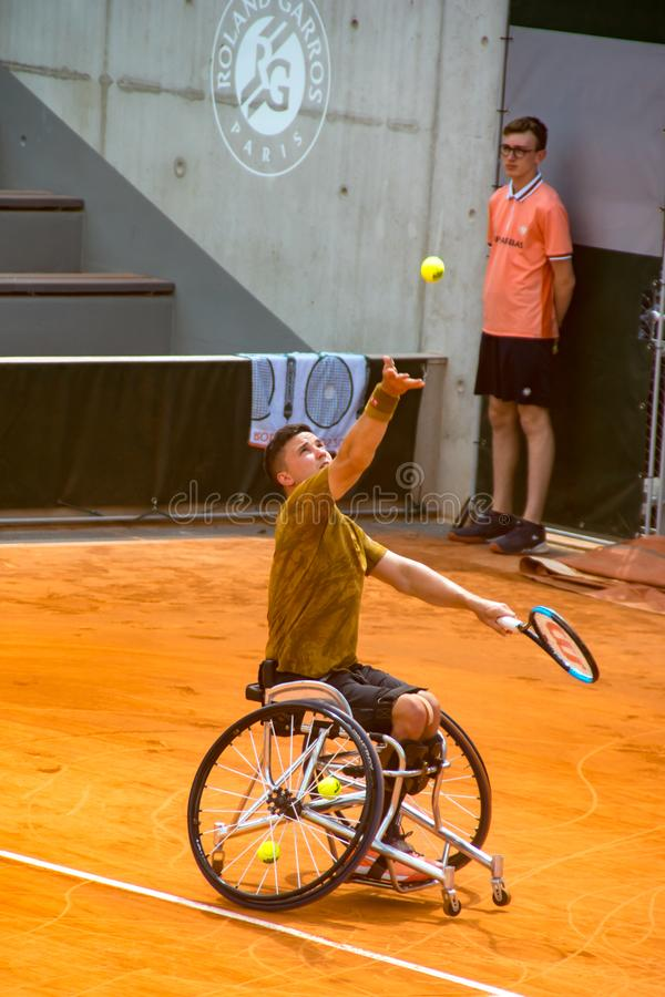 PARIS, FRANCE - 8 JUIN 2019 : Roland Garros équipe des finales de fauteuil roulant image stock