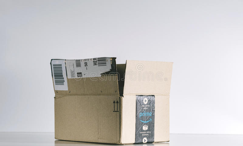 Amazon box in studio background stock photography