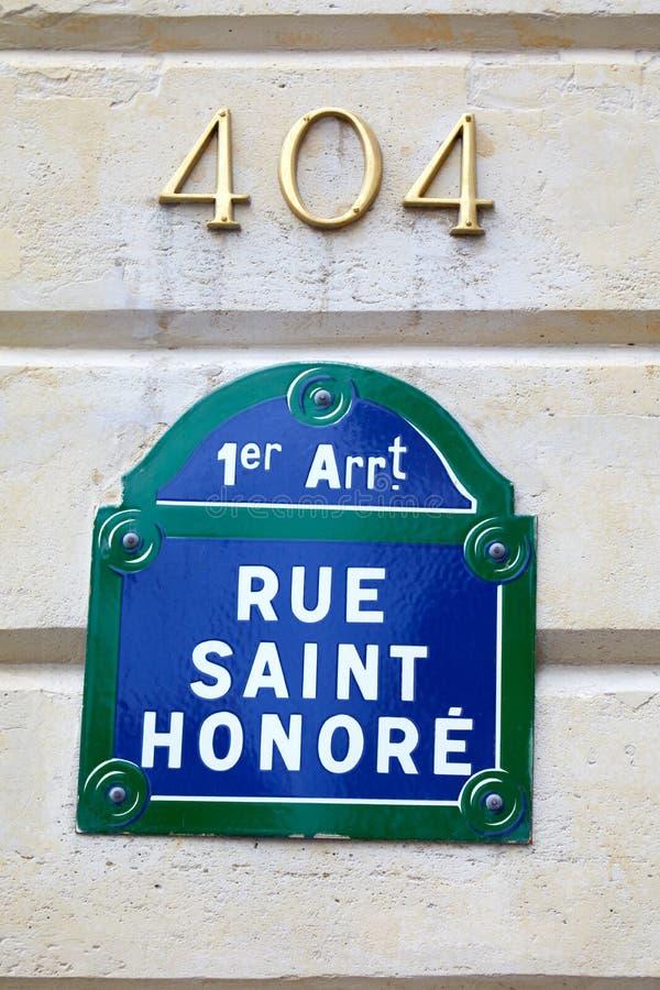 Famous Rue Saint Honore street sign in Paris, France. PARIS, FRANCE - JULY 22, 2017: Famous Rue Saint Honore street sign in Paris, France royalty free stock image