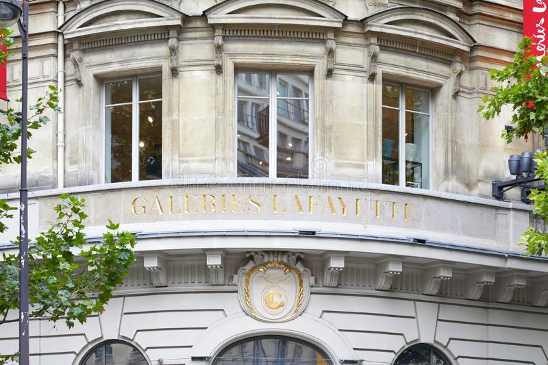 Galeries Lafayette luxury department store sign in Paris, France. PARIS, FRANCE - JULY 22, 2017: Galeries Lafayette luxury department store sign in Paris, France royalty free stock image