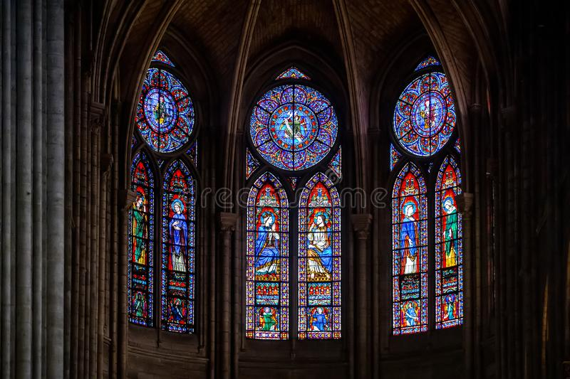 PARIS – FRANCE - JULY 17, 2018: Interior of the Notre Dame de Paris cathedral with stained-glass windows, France. stock images