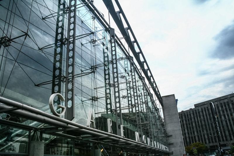 Main entrance to Gare Montparnasse train station, the most modern railway station of SNCf French Railways stock photos