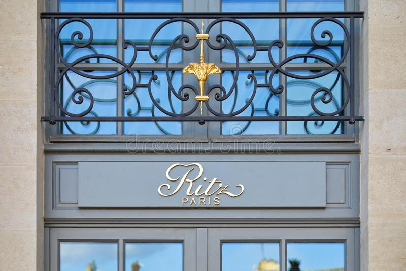 Ritz, luxury hotel golden sign in place Vendome in Paris, France stock image