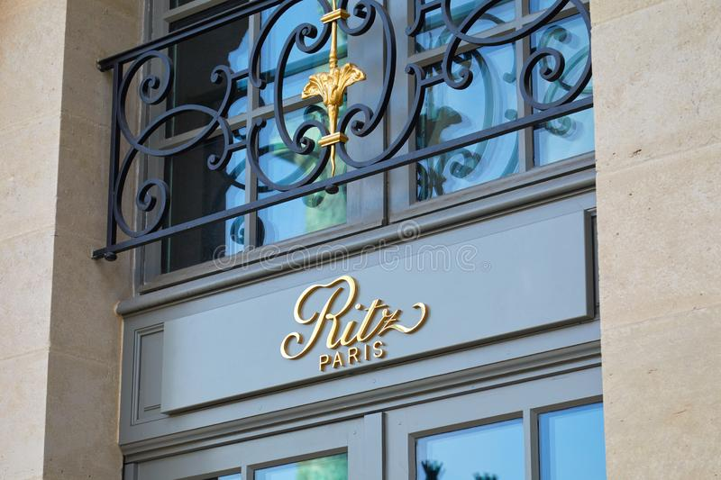 Ritz, luxury hotel golden sign in place Vendome in Paris, France royalty free stock images