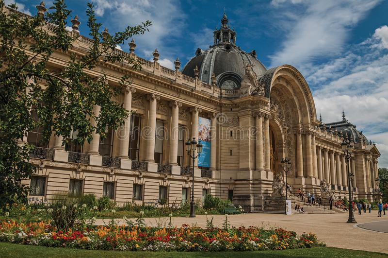 Street of the Grand Palais in a sunny day at Paris. stock images