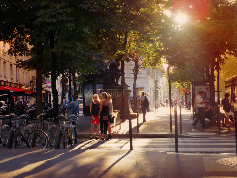 Paris, France - July 2014 - Summer street view in Paris magical. Evening moment royalty free stock photo