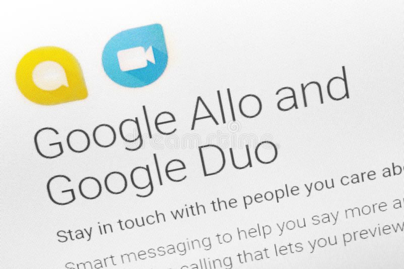 Paris, France - June 14 2017 : Close-up on Google Allo and Duo applications for Android phones and tablets Google is an American m. Ultinational corporation royalty free stock photo