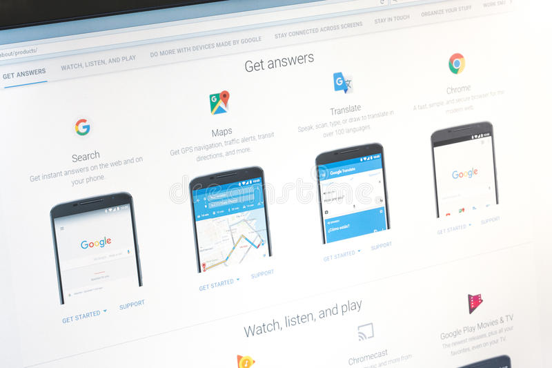 Paris, France - June 14 2017 : Close-up on Google applications (maps, translate, search, chrome) for Android phones and tablets. G. Oogle is an American stock photos