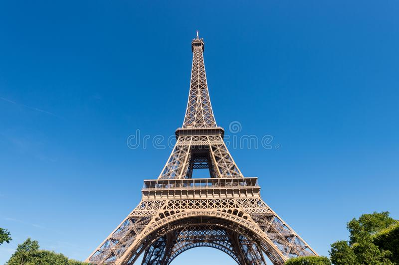 Eiffel Tower from the Champ de Mars gardens in summer. stock photos