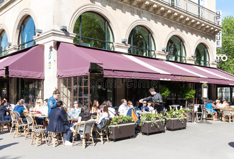Paris, France-June 09 2016- The French-Russian cafe restaurant Pouchkine located at Madeleine place in Paris, France. stock image