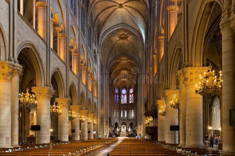 PARIS, FRANCE - JUNE 23, 2017: Interior of the Notre-Dame de Paris church. Is a medieval Catholic cathedral and is considered to stock photos