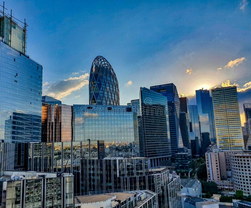 Paris, France, June 2019: La Defense business district at sunset royalty free stock image