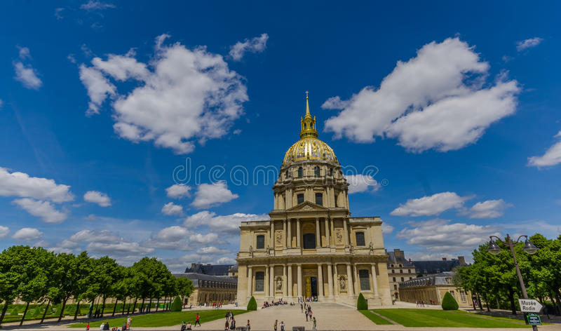 Paris, France - June 1, 2015: Les Invalids, National Residence of the invalid, beautiful building with dome tower royalty free stock photography