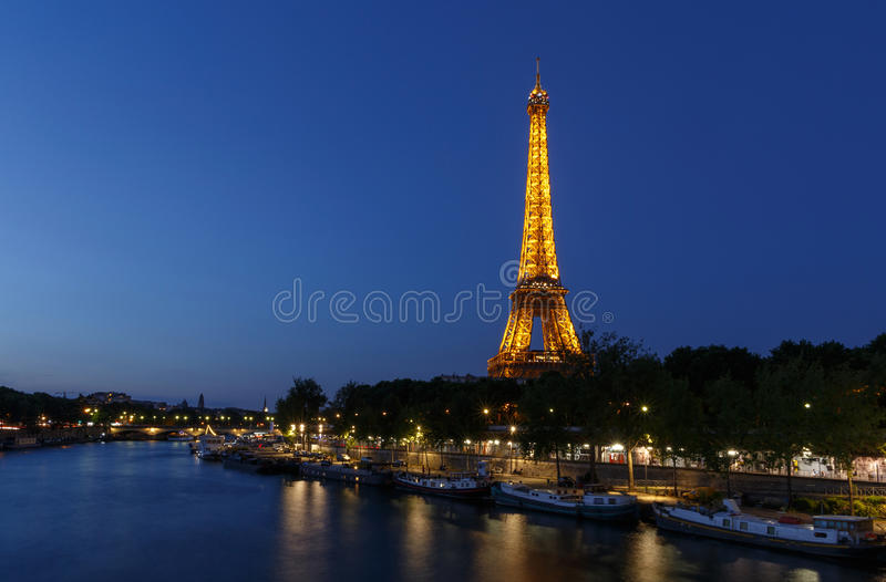 PARIS, FRANCE - June 23, 2017: river Seine and Eiffel tower royalty free stock image