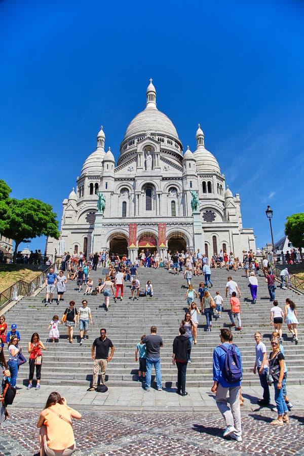 Paris, France - June 28, 2015: Sacre Coeur Cathedral stock photos