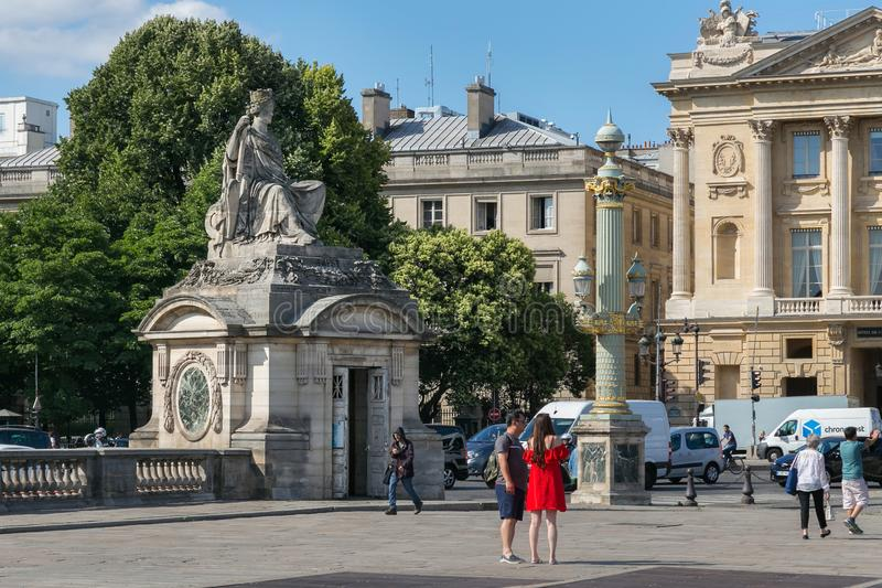 PARIS, FRANCE - JUNE 23, 2017: Statue in honor of the french city of Brest on the Place de la Concorde in historical center of. Paris at summertime stock photos