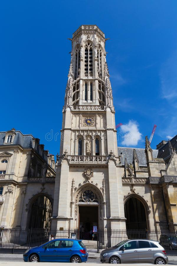 PARIS, FRANCE - JUNE 23, 2017: Tower of the Roman Catholic Church of Saint-Germain-l`Auxerrois built in15th century. It used to royalty free stock photos