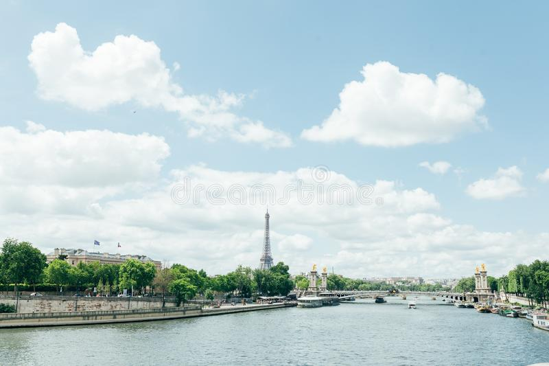 PARIS, FRANCE - 02 June 2018 : View of the Eiffel Tower and Siene River in Paris, France. royalty free stock photo