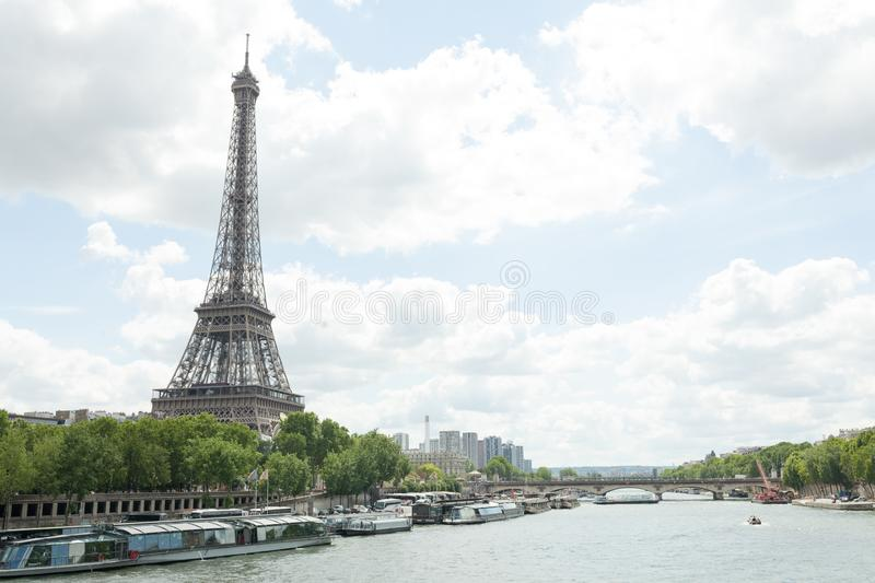 PARIS, FRANCE - 02 June 2018 : View of the Eiffel Tower and Siene River in Paris, France stock photos