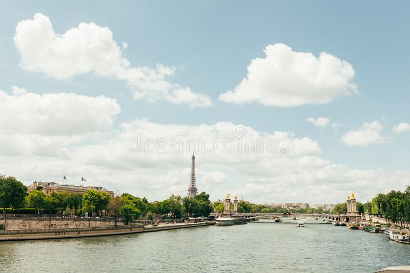 PARIS, FRANCE - 02 June 2018 : View of the Eiffel Tower and Siene River in Paris, France. royalty free stock image