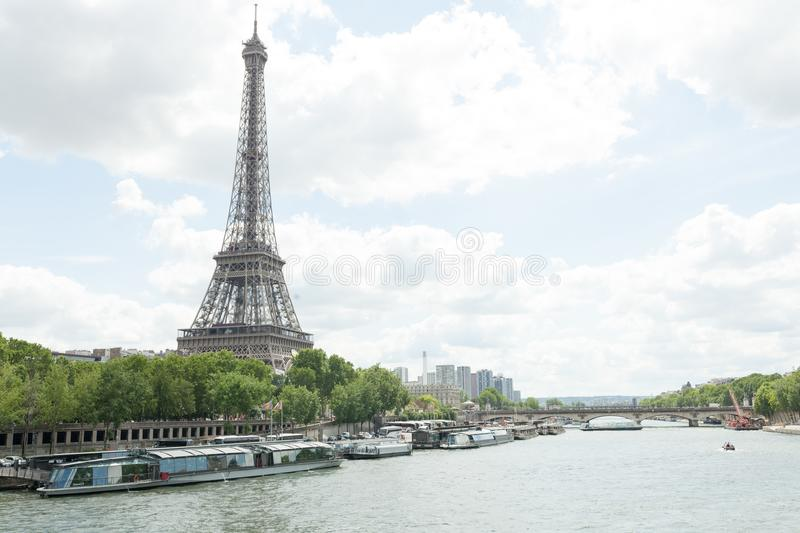 PARIS, FRANCE - 02 June 2018 : View of the Eiffel Tower and Siene River in Paris, France. stock photography