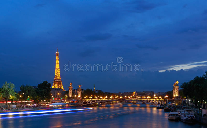 PARIS, FRANCE - June 26, 2017: view on Pont Alexandre III and Eiffel tower stock photo