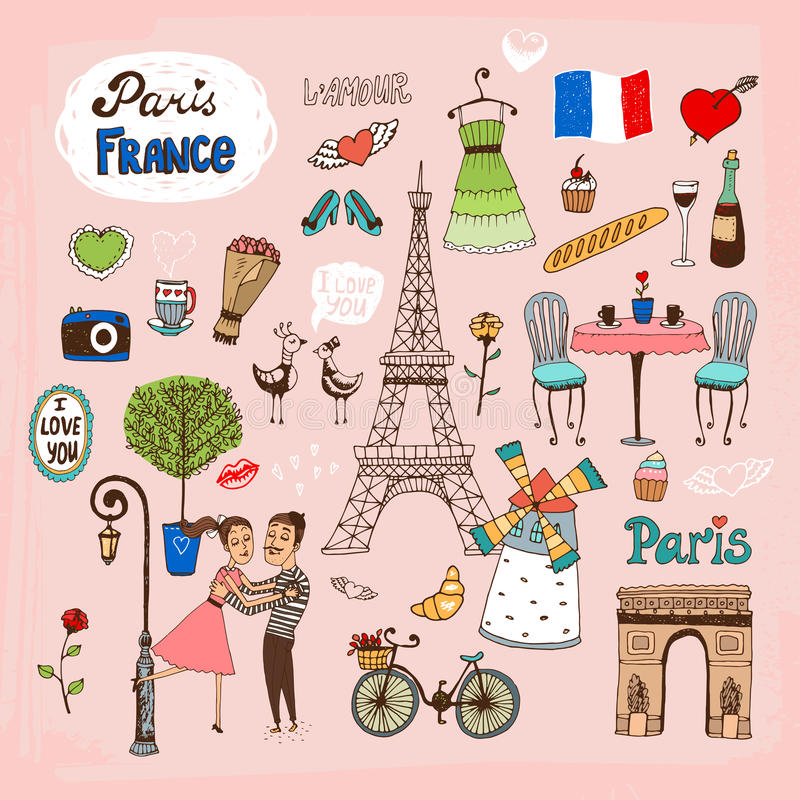 Paris France landmarks and icons vector illustration