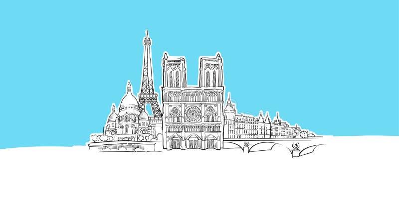 Paris, France Lineart Vector Sketch illustrazione di stock